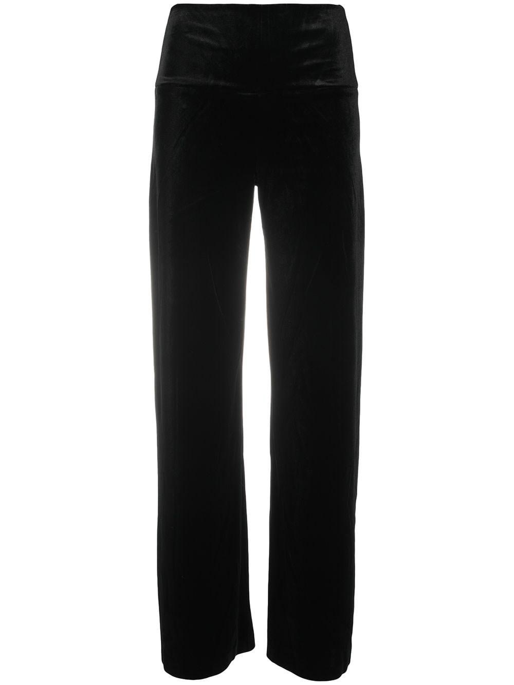 NORMA KAMALI Velvet Wide-Leg Trousers