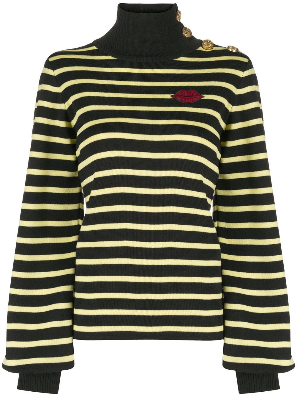 REDVALENTINO High-Neck Striped Sweater