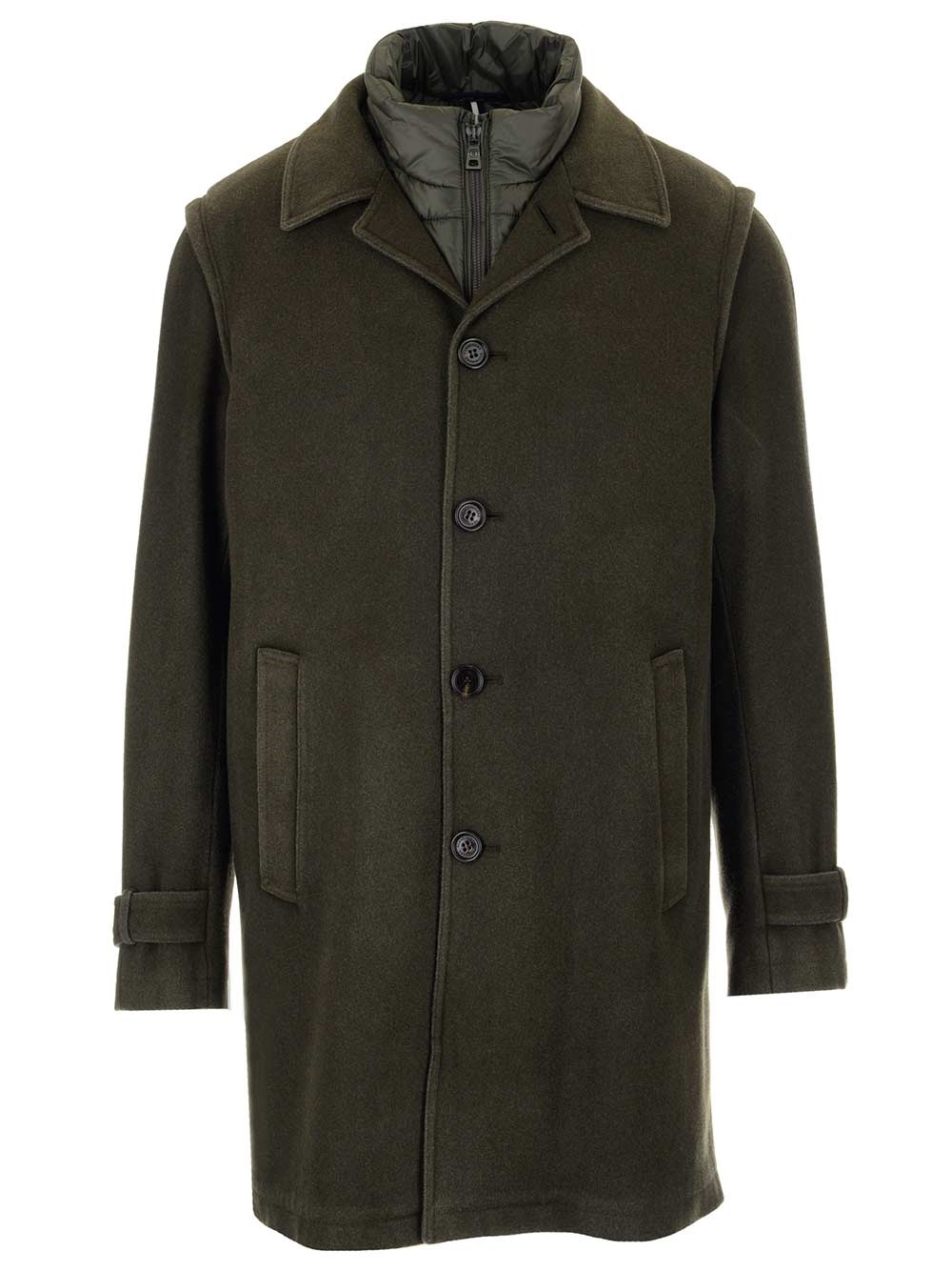 SCHNEIDERS Loden Wool Coat With Padded Vest