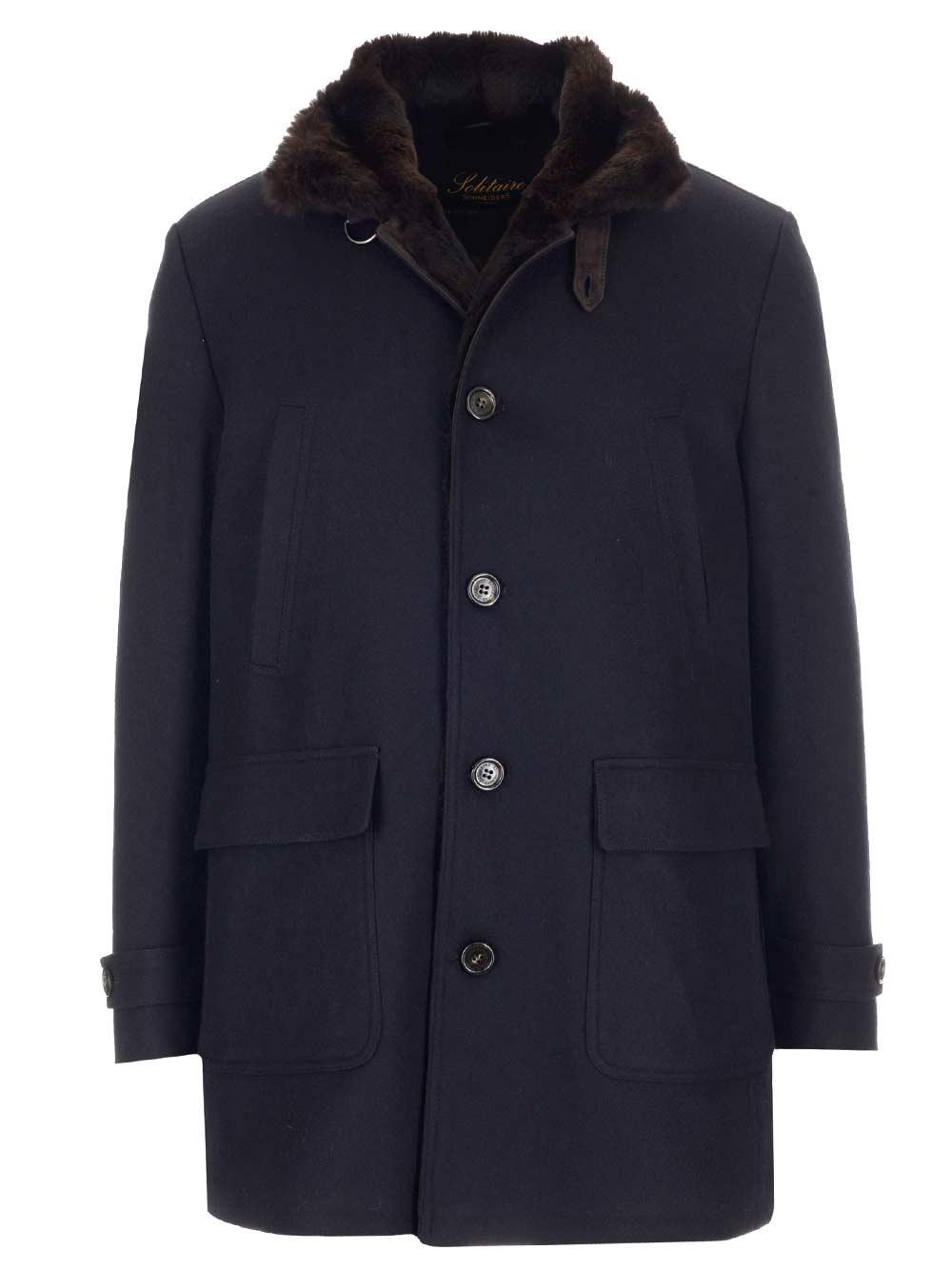 SCHNEIDERS Blue Cachemire Coat With Fur