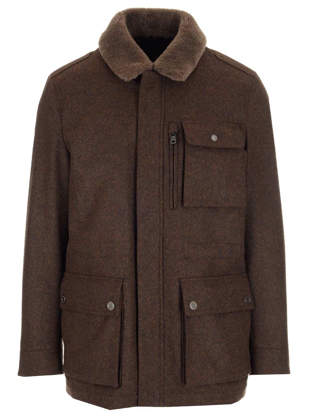 SCHNEIDERS Wool Coat With Rabbit Fur Collar