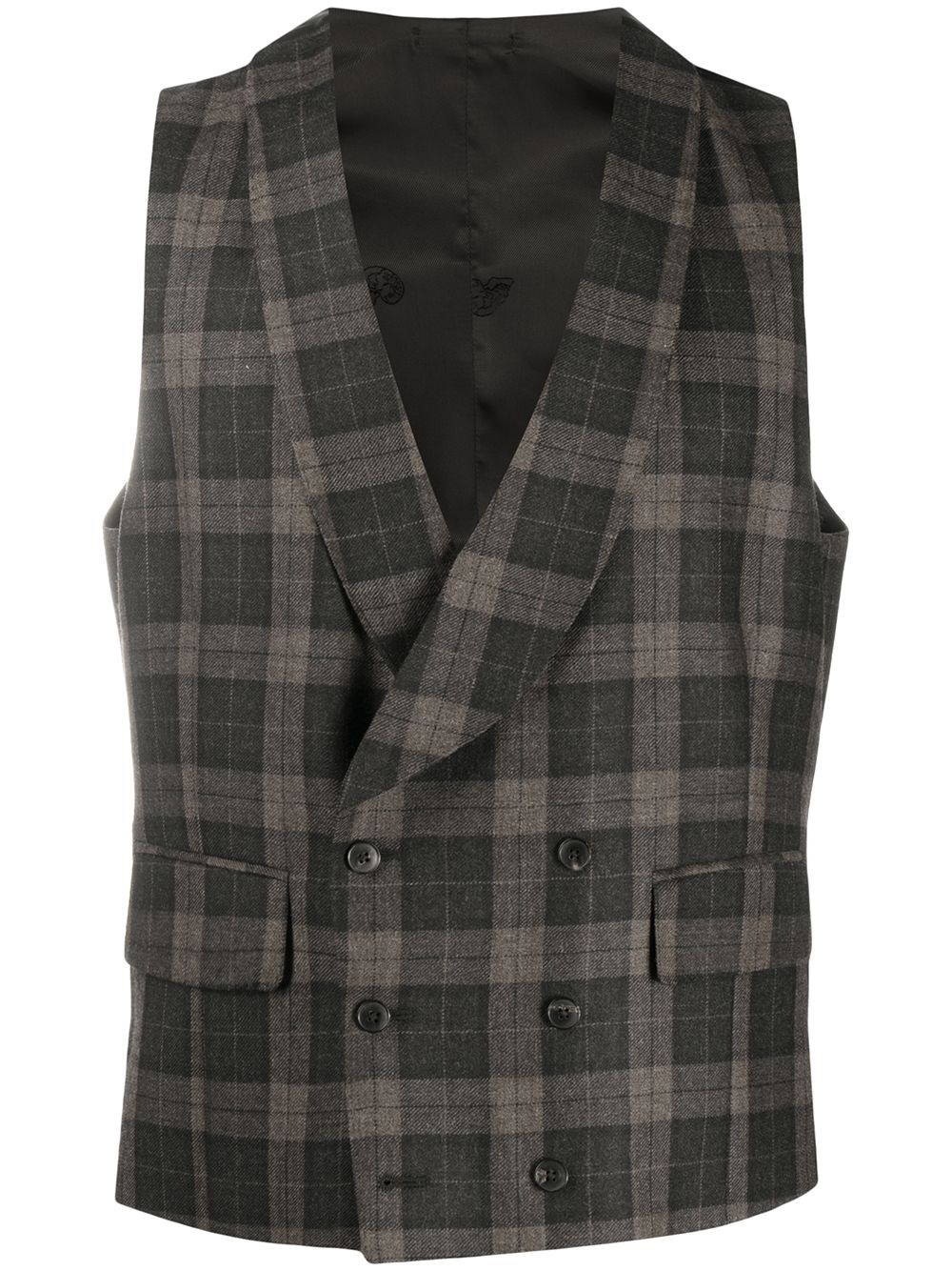 GABRIELE PASINI Checked Double-Breasted Waistcoat