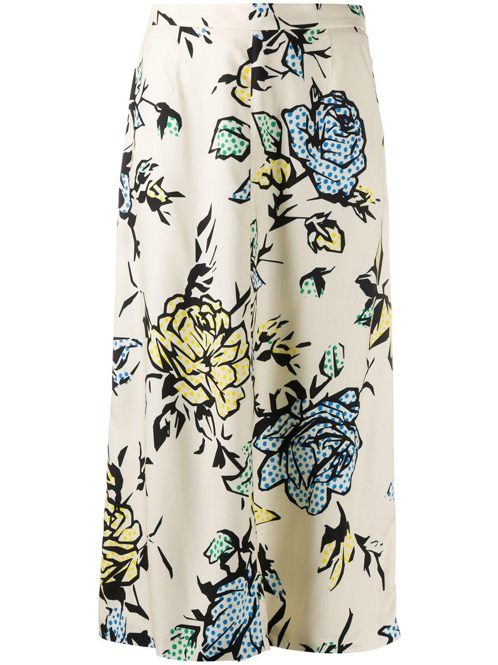 REDVALENTINO Flower Print Crepe Skirt