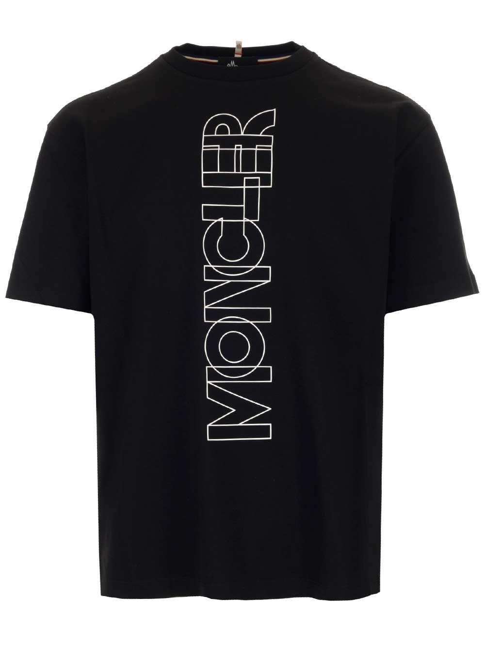 MONCLER GRENOBLE Black T-Shirt With Maxi Logo