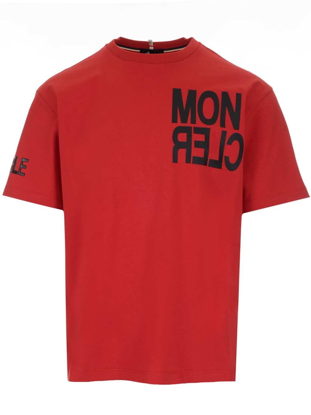 MONCLER GRENOBLE Red T-Shirt With Maxi Logo