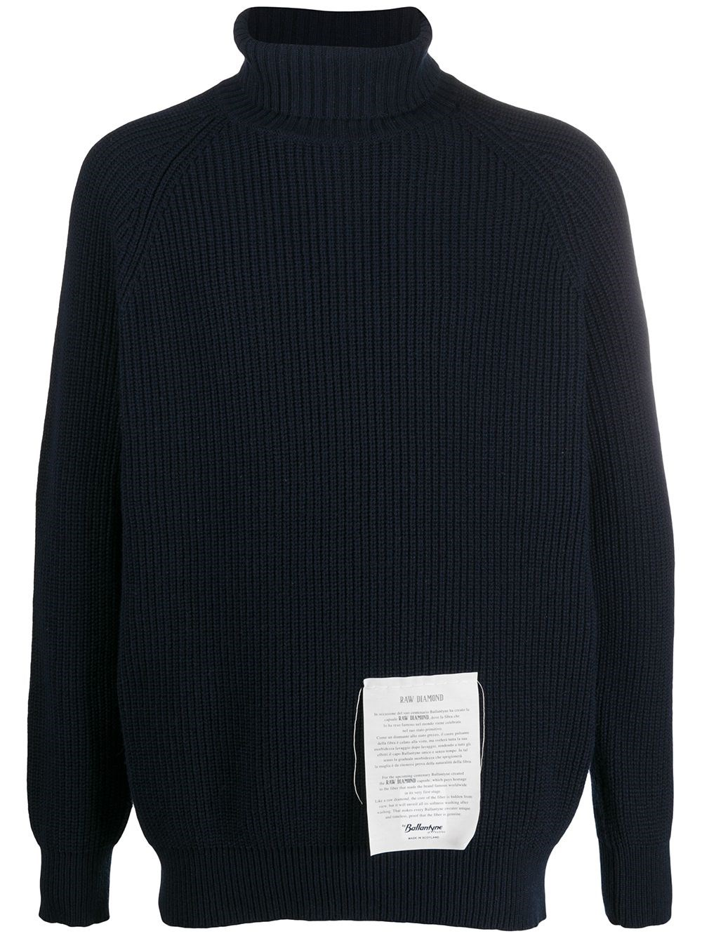 RAW DIAMOND BY BALLANTYNE Ribbed Roll Neck Jumper