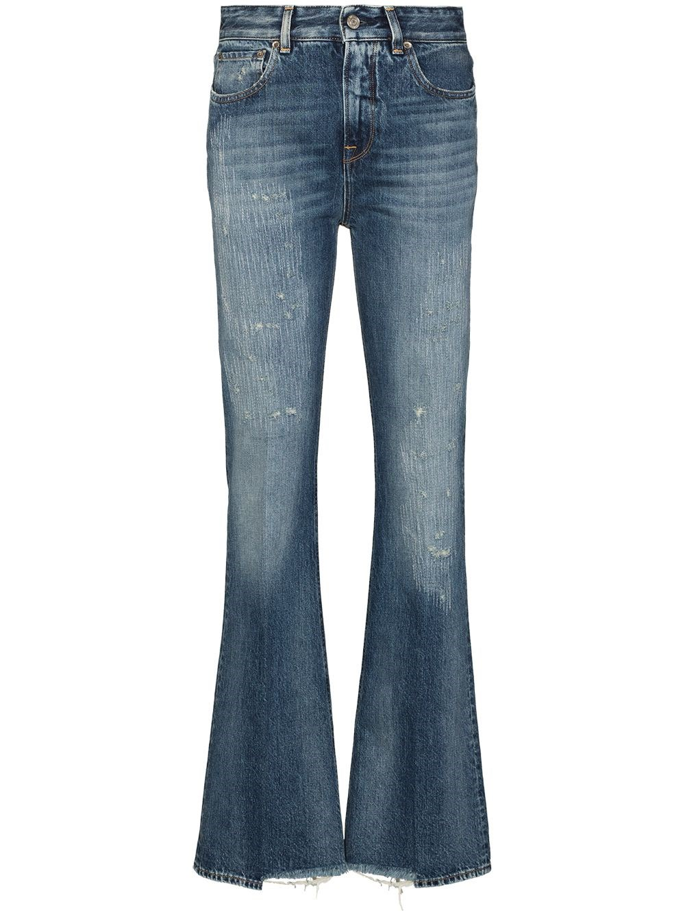 GOLDEN GOOSE DELUXE BRAND Blue Distressed-Effect Bootcut Jeans
