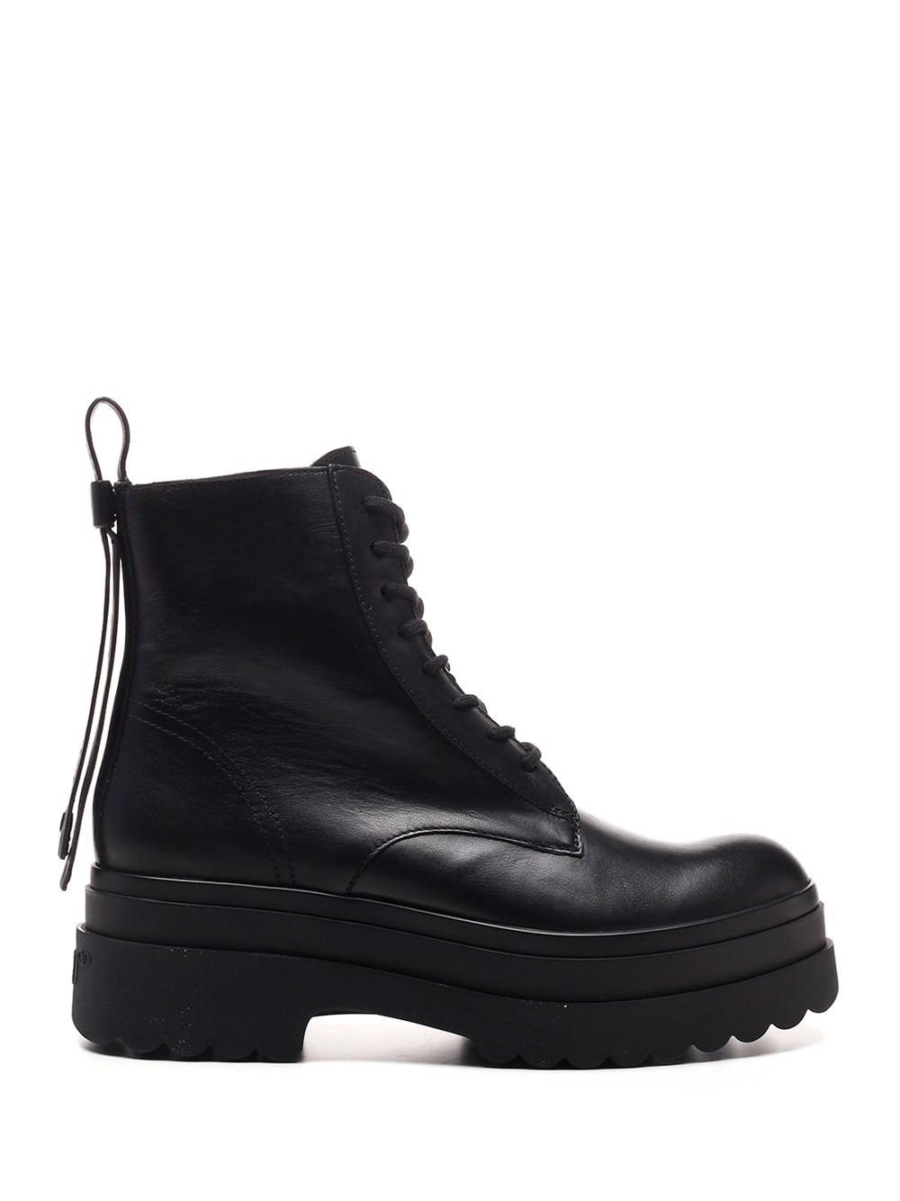 RED (V) Black Leather Ankle Compat Boot