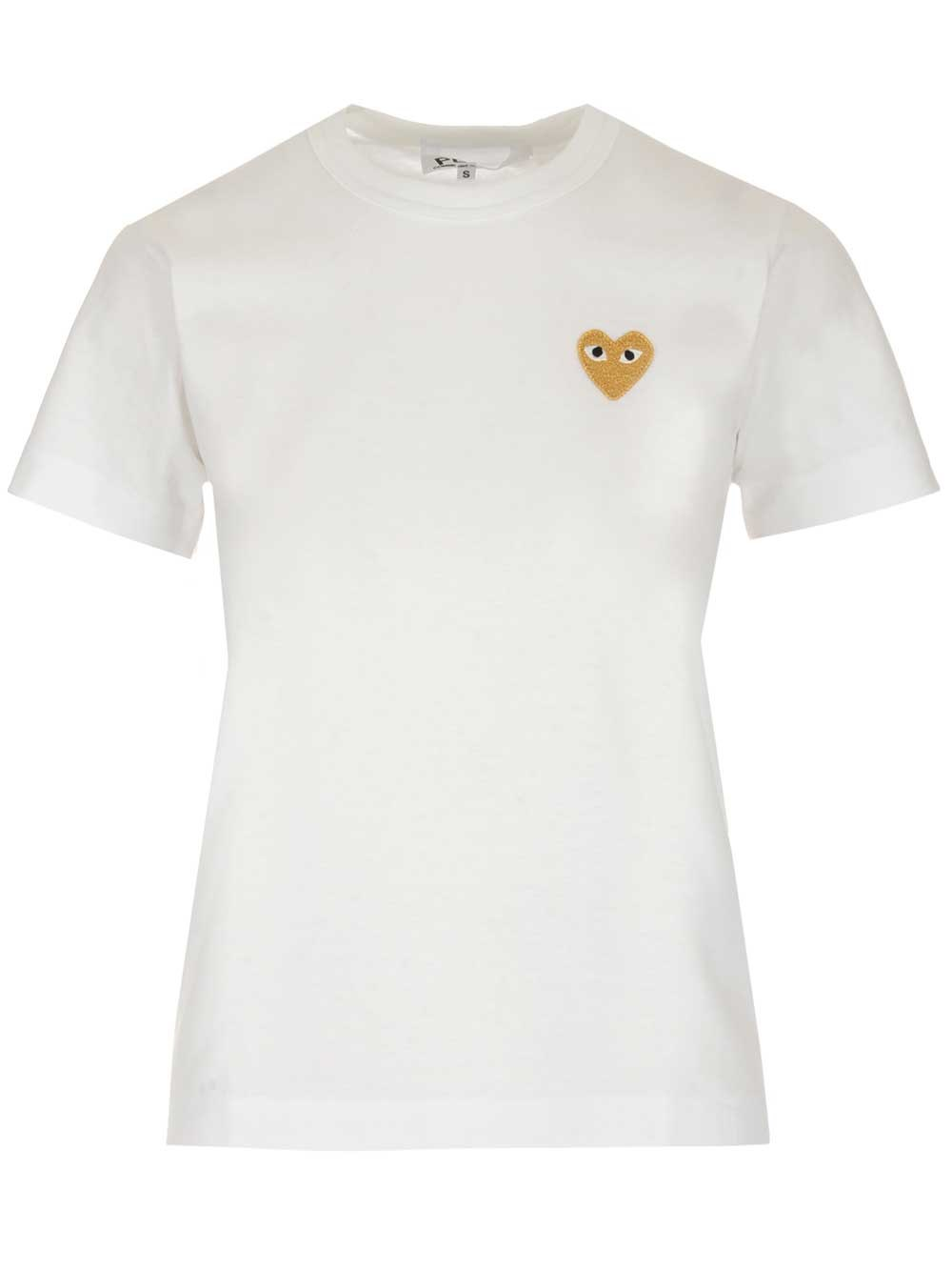 COMME DES GARCONS PLAY Gold Heart Embroidery T-Shirt