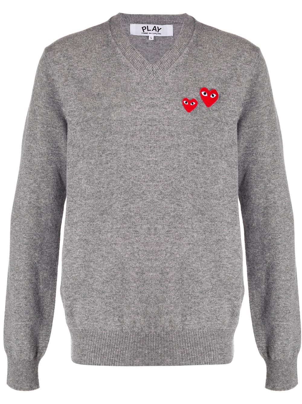 COMME DES GARCONS PLAY Gray Wool Knit Sweater