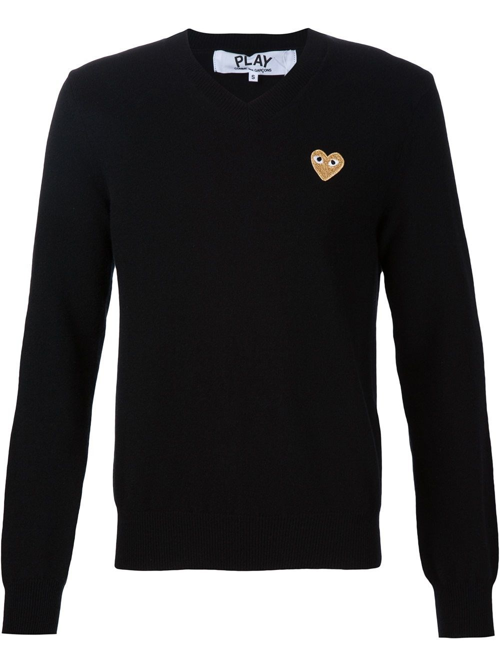 COMME DES GARCONS PLAY Gold Heart Patch Sweater