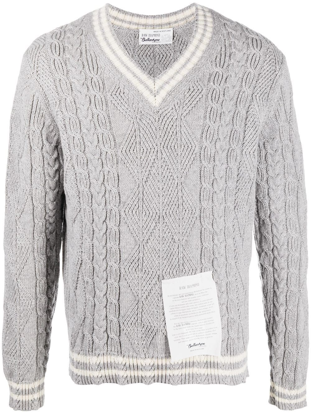 RAW DIAMOND BY BALLANTYNE Tag Cable-Knit V-Neck Jumper