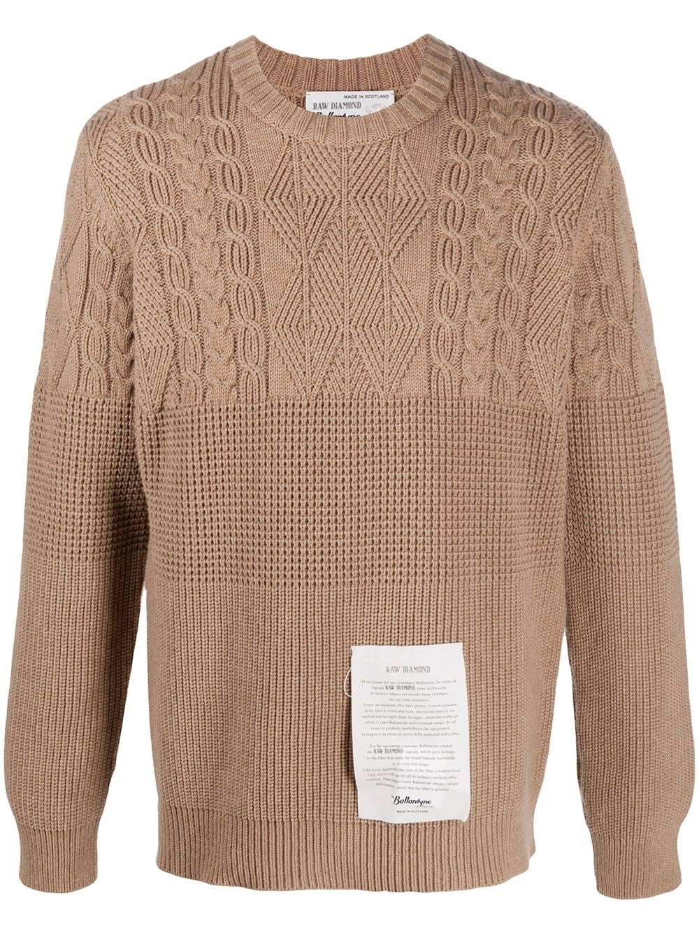 RAW DIAMOND BY BALLANTYNE Contrast-Knit Crewneck Jumper