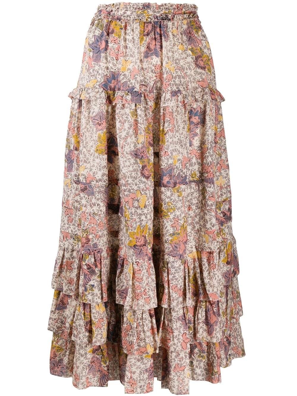 "ULLA JOHNSON ""Astra"" Tiered Floral Midi Dress"