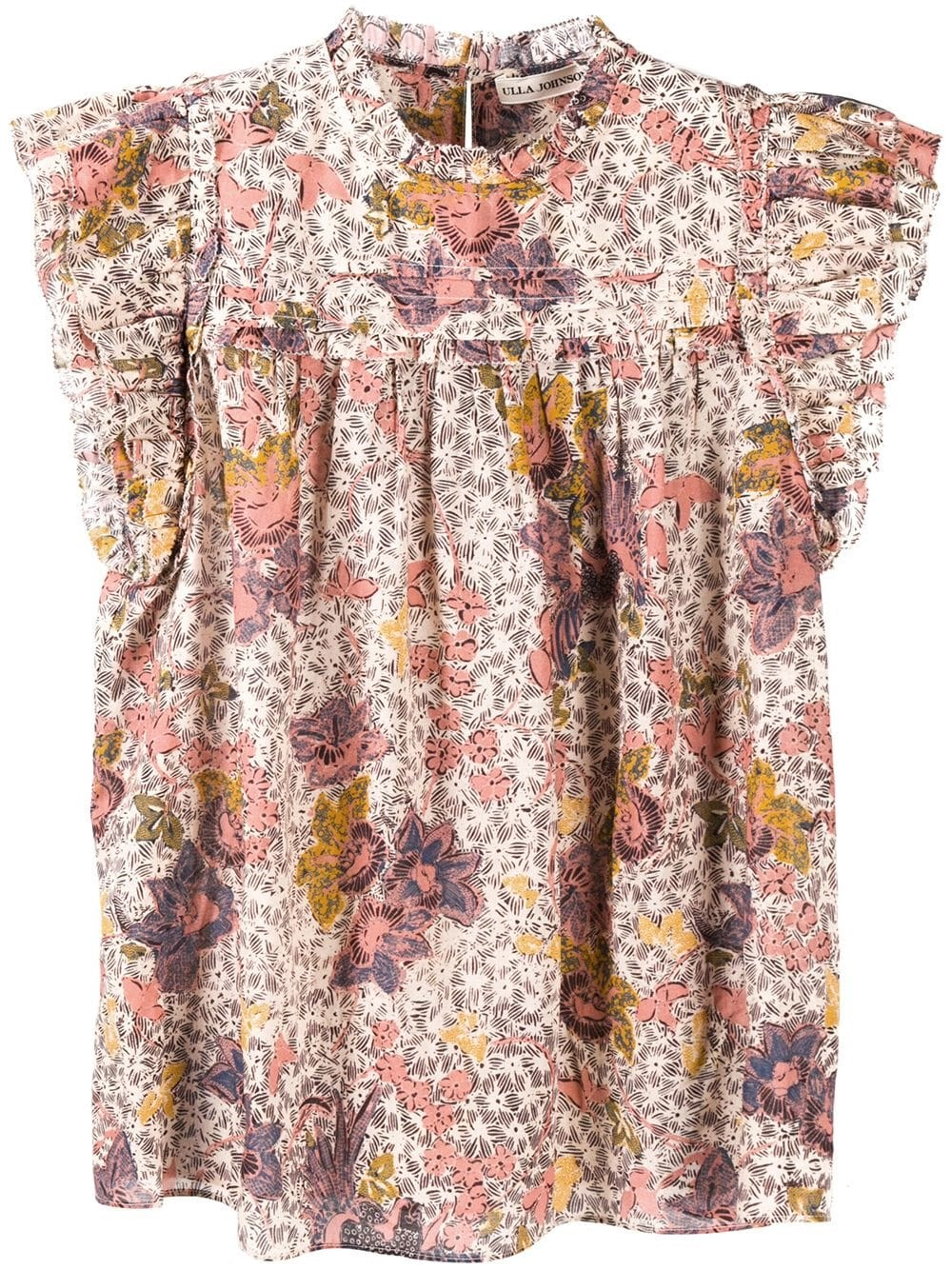 "ULLA JOHNSON ""Louise"" Floral-Print Short-Sleeve Blouse"