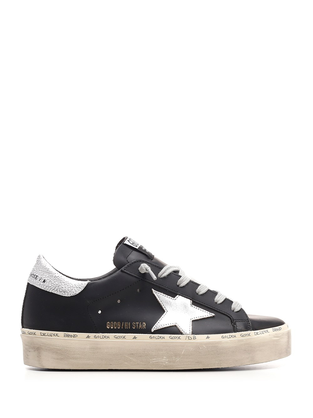 "GOLDEN GOOSE DELUXE BRAND Black And Silver ""Hi Star"" Sneakers"