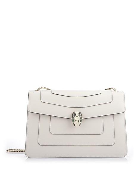 Bulgari 'Serpenti Forever' white leather flap bag